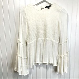 American Eagle Cream Ruched Bell Sleeve Top